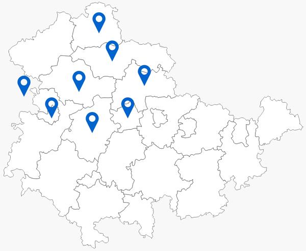 Landkreiskarte Thüringen mit Standort-Pins